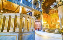 El Bimah de mármol en Ben Ezra Synagogue en El Cairo, Egipto fotografía de archivo libre de regalías