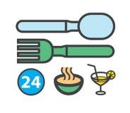 El bistro o el café firma con la bifurcación y el cuchillo libre illustration