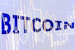El bitcoin de la palabra Foto de archivo libre de regalías
