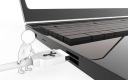 el blanco 3d con el carácter negro del movimiento del borde es alrededor enchufar un cable del usb a un puerto de usb del disposi stock de ilustración