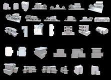 el blanco 3d contiene la parte una de la colección stock de ilustración