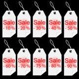 El blanco de la venta de las compras marca el sistema de etiquetas con etiqueta Imagen de archivo libre de regalías