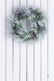 El blanco decorativo manchó la guirnalda verde de la Navidad Fotografía de archivo libre de regalías
