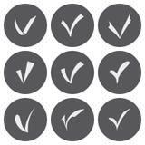 El blanco del vector confirma los iconos fijados Foto de archivo libre de regalías