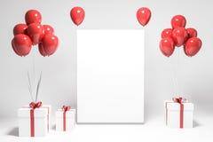 El blanco presenta con los globos rojos, mofa encima del cartel ilustración del vector