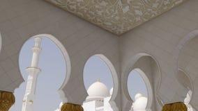 El blanco principal ligero del verano empareda la mezquita dentro de 4k almacen de metraje de vídeo