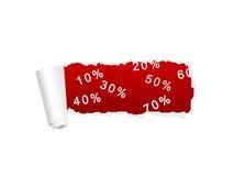 El blanco rasgó el papel con el fondo rojo del por ciento de la VENTA Fotografía de archivo