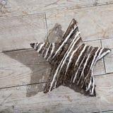 El blanco y el marrón protagonizan con la sombra enorme en el piso de madera Foto de archivo libre de regalías