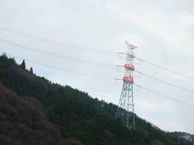 El blanco y el rojo pintaron el polo de poder en el bosque de la montaña Fotos de archivo