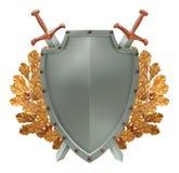 El blindaje con las espadas cruzadas en el fondo de va Imagen de archivo
