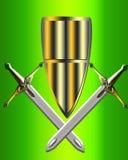 El blindaje y el arma Imagen de archivo libre de regalías