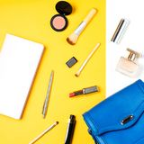 El blogger de la moda se opone completamente endecha Productos de belleza y accesorios femeninos elegantes en fondo en colores pa Fotos de archivo