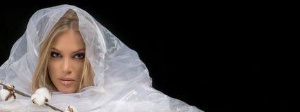 El Blonde compone a Beauty Makeup modelo, fondo blanco de la tela Imagenes de archivo