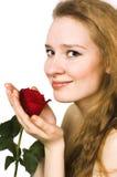 El blonde con una rosa Imagen de archivo