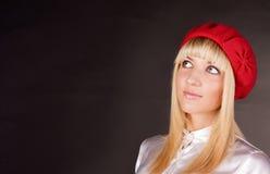 El blonde dulce mira para arriba Imagen de archivo