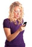 El blonde hermoso con el teléfono Foto de archivo