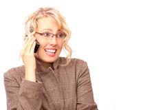 El blonde hermoso con el teléfono Imagen de archivo
