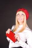El blonde hermoso mira para arriba Foto de archivo