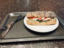 El bocadillo de la mozzarella en Poppy Seed Bread sirvió con la bandeja Fotos de archivo