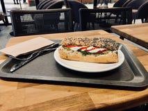 El bocadillo de la mozzarella en Poppy Seed Bread sirvió con la bandeja Foto de archivo libre de regalías