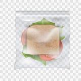 El bocadillo del jamón y de la verdura en zoplock plástico sellado transparente empaqueta Fotos de archivo libres de regalías