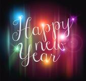 El bokeh de la Feliz Año Nuevo enciende la tarjeta Imagenes de archivo