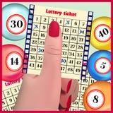 El boleto de lotería en una mano Imágenes de archivo libres de regalías