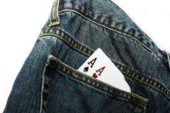 El bolsillo Aces el azul Fotografía de archivo libre de regalías