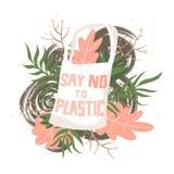 El bolso de la tela con las flores y el texto dicen no al plástico ilustración del vector
