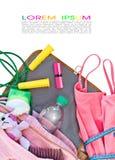 El bolso de las mujeres con los accesorios para la aptitud Fotografía de archivo libre de regalías