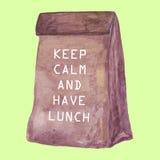 El bolso del almuerzo guarda calma y almuerza Fotos de archivo libres de regalías