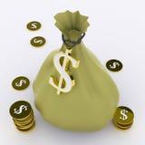 El bolso del dólar significa moneda o ganancias de la riqueza stock de ilustración