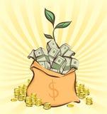 El bolso del dinero con los manojos de dólares en fondo retro de los rayos, acuña pilas por otra parte, brote del árbol del diner Foto de archivo libre de regalías