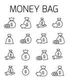 El bolso del dinero relacionó el sistema del icono del vector libre illustration