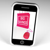 El bolso grande de los ahorros exhibe ventas y descuentos en línea Fotografía de archivo libre de regalías
