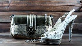 El bolso y los zapatos de las mujeres elegantes Fotos de archivo libres de regalías