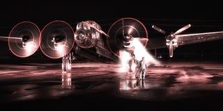 El bombardero de Avro Lancaster empieza para arriba foto de archivo