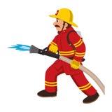 El bombero apaga el fuego con la manguera Fotos de archivo