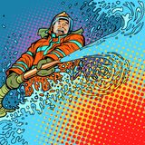 El bombero apaga el fuego con agua ilustración del vector