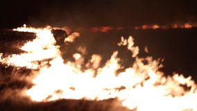 El bombero lucha el fuego almacen de video
