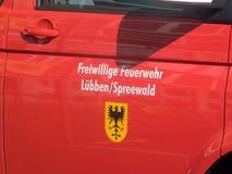 El bombero voluntario del ¼ de LÃ bben Spreewald, Brandeburgo, Alemania Fotografía de archivo