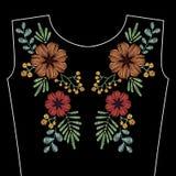 El bordado cose con las flores salvajes de la primavera para el escote Vecto libre illustration