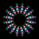 El bordado cose el marco redondo de imitación con la flor colorida a libre illustration