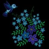 El bordado cose la imitación con el pájaro y la flor azules con el gre libre illustration