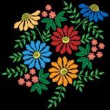El bordado cose la imitación con la flor colorida con el le verde ilustración del vector