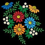 El bordado cose la imitación con la flor colorida con el le verde stock de ilustración