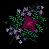 El bordado cose la imitación con la flor colorida y el pasto verde ilustración del vector