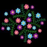 El bordado cose la imitación con poca flor y GR coloridos stock de ilustración