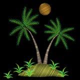 El bordado de la palmera cose la imitación en fondo negro ilustración del vector