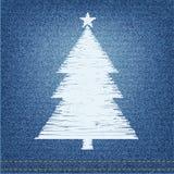 El bordado diseña el pino en fondo del dril de algodón Fotos de archivo